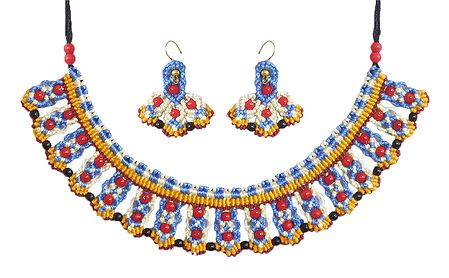 Blue with White Macrame Thread Necklace and Earrings with Saffron and White Beads