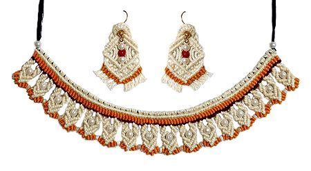 Thread Necklace and Earrings with Macrame Knots