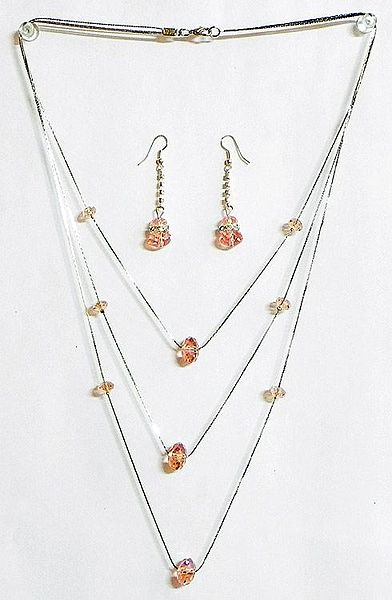 Pink Crystal Bead Three Layer Necklace