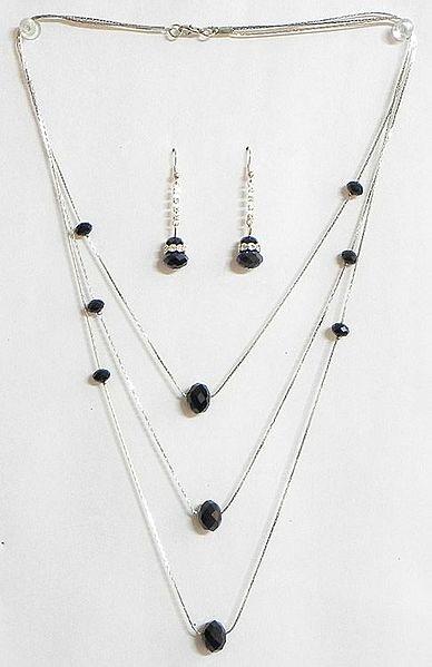 Black Crystal Bead Three Layer Necklace