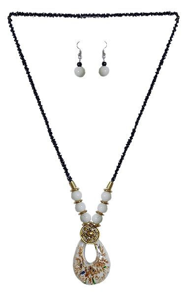 Black with White Beaded Tibetan Necklace and Earrings