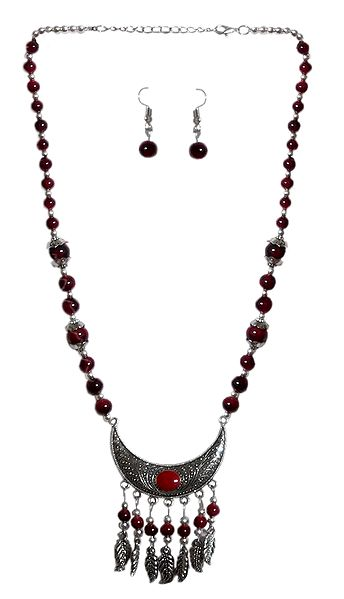 Maroon with Silver Beaded Tibetan Necklace and Earrings