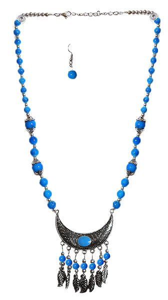 Cyan with Silver Beaded Tibetan Necklace and Earrings