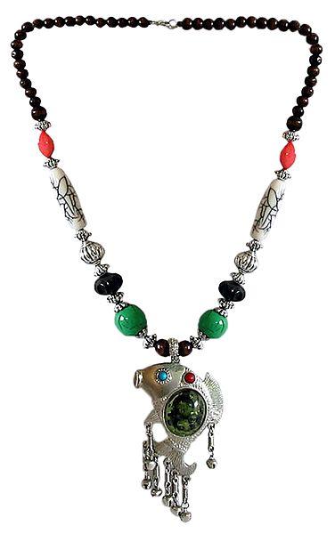 Tibetan Metal Necklace with Fish Pendant