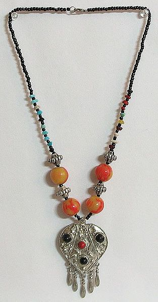 Tibetan Necklace with Metal Heart Pendant with Jhalar