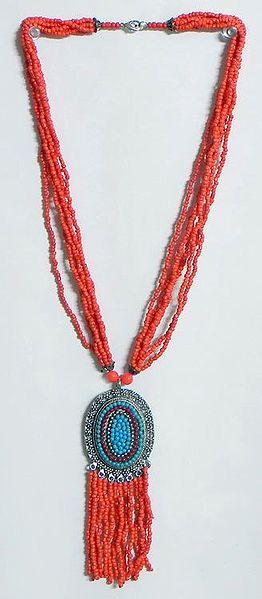 Dark Saffron Bead Necklace with Blue Beaded Metal Pendant