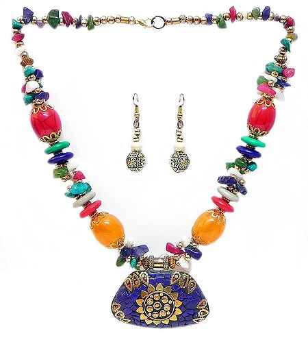 Multicolor Stone Bead Tibetan Necklace with Lacqured Brass Pendant and Earrings