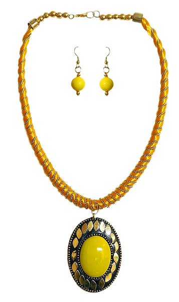 Yellow Threaded Tibetan Necklace with Stone Pendant and Earrings