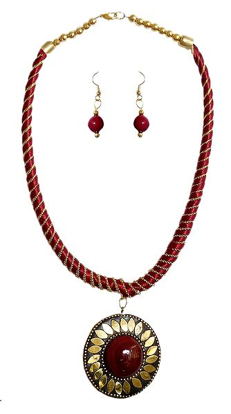 Maroon Threaded Tibetan Necklace with Stone Pendant and Earrings