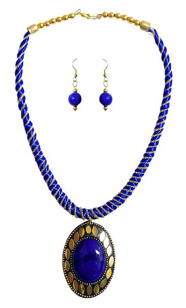 Blue Threaded Tibetan Necklace with Stone Pendant and Earrings