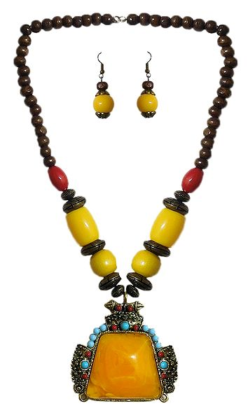 Yellow with Brown Bead Tibetan Necklace and Earrings