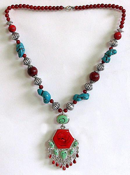 Tibetan Necklace with Hexagonal Pendant