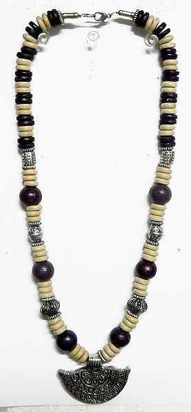 Off-White and Dark Brown Wheel Bead Necklace