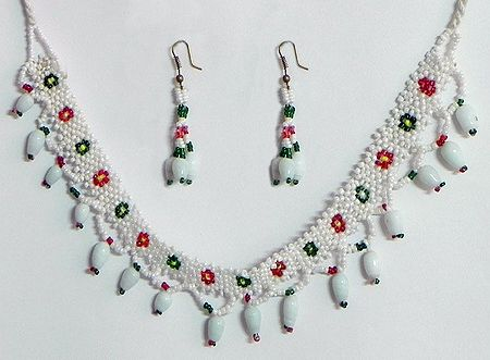 White with Green and Red Bead Necklace and Earrings