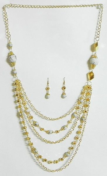 Five Layer Golden Chain with White Bead Necklace and Earrings