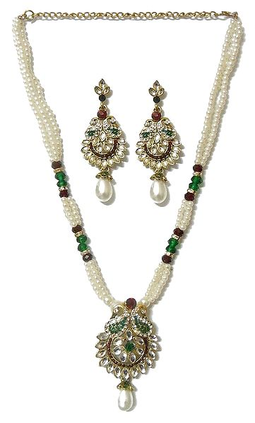 White Bead Necklace with Kundan Pendant and Earrings