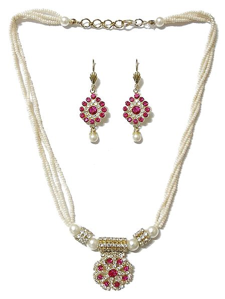 White Bead Necklace with Faux Zirconia and Ruby Pendant and Earrings