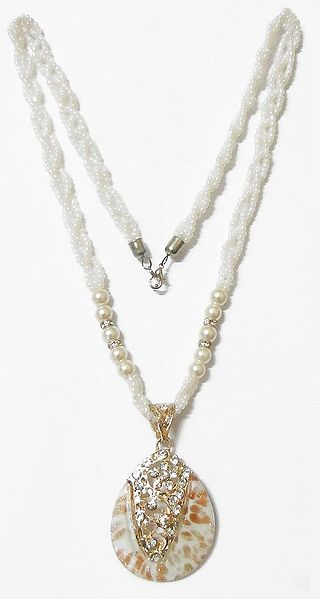 White Bead Necklace with White Stone Studded Pendant