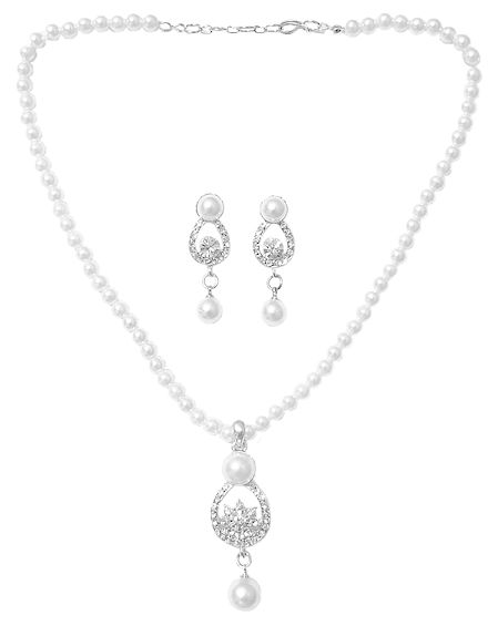 Faux Pearl Necklace with White Zirconia Pendant and Earrings