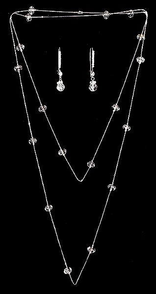 White Crystal Bead Necklace Set
