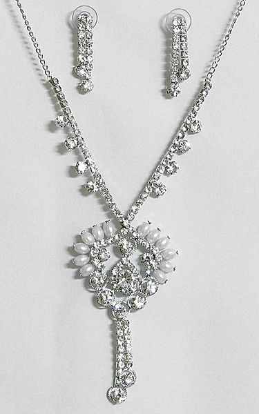 White Stone Studded Party Jewelry