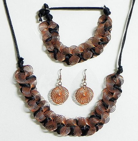 Copper Wire with Black Cord Necklace with Bracelet and Earrings