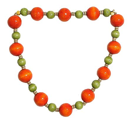 Dark Saffron and Light Green Wooden Bead Necklace