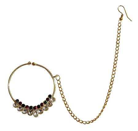 Stone Studded Non Piercing Nose Ring with Chain