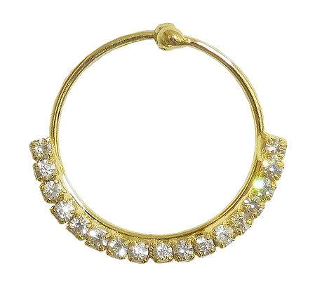 White Stone Studded Non Piercing Nose Ring