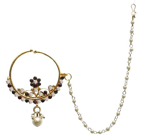 Stone Studded Non Piercing Nose Ring with Beaded Chain
