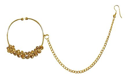 Kundan Non Piercing Nose Ring with Chain