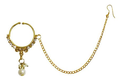 Kundan with Cubic Zirconia Non Piercing Nose Ring with Chain