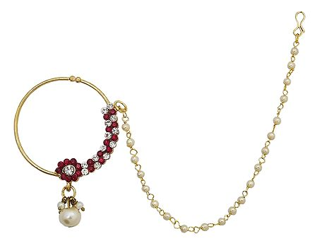 White and Red Stone Studded Non Piercing Nose Ring with Bead Chain