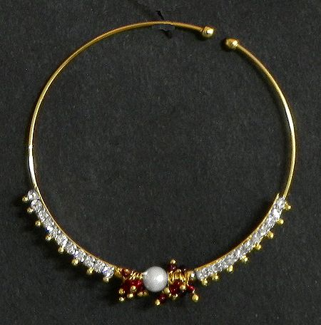 White Stone Studded and Gold Plated Nose Ring