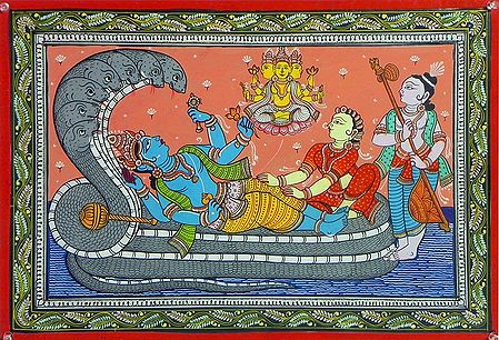 Vishnu in Anantashayan Accompanied by Lakshmi, Brahma and Narada