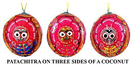 Jagannath,Balaram, Subhadra - Pata Painting on 3 Sides of a Hanging Coconut