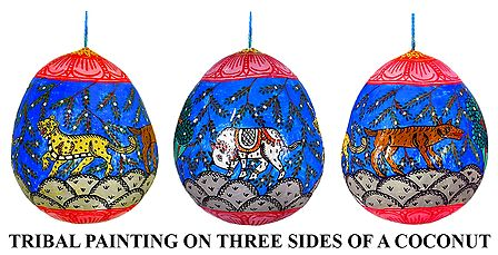 Wildlife Painting on 3 Sides of a Hanging Coconut