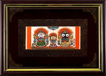 Jagannath, Subhadra, Balaram - Patachitra on Palm Leaf