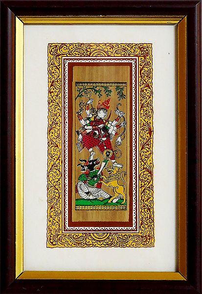 Goddess Durga - Patachitra on Palm Leaf