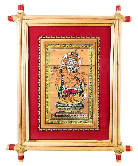 Lord Vinayak - Patachitra on Palm Leaf - Framed