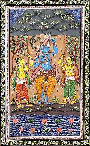 Krishna Lifts the Govardhan Mountain
