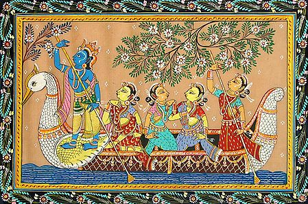 Krishna Rowing the Peacock Boat with Gopinis