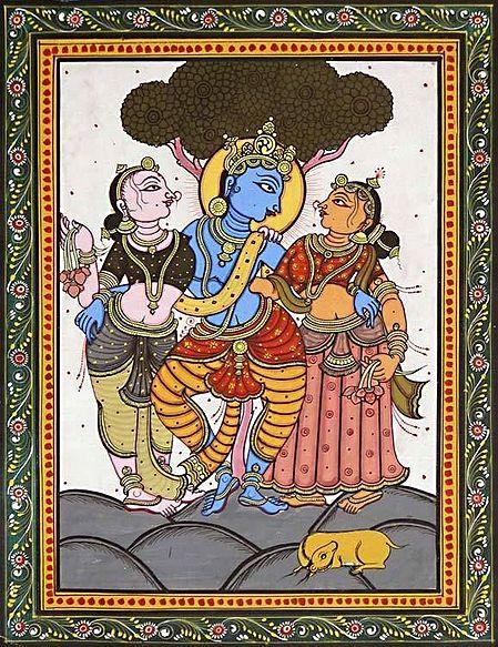 Krishna with Radha and Lalita