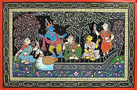 Lord Krishna Enjoying Naukavihar with Gopinis