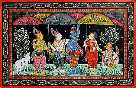 Lord Krishna Lifts Govardhan Mountain