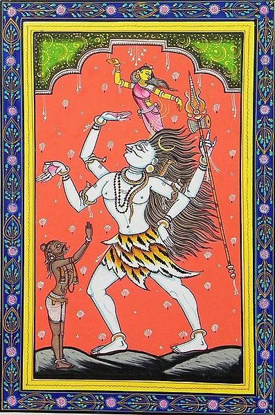 Shiva Entangles Ganges in His Locks while Bhagirath Prays for Her Release