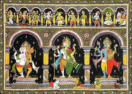 Dashavatar with Combined Forms of Ganesha - Hanuman, Shiva - Parvati  and Vishnu - Lakshmi with Their Vahanas