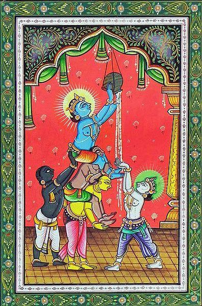 Makhan Chor Krishna Stealing Butter with Friends