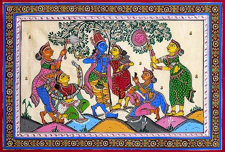 Radha Krishna Entertained by Gopinis