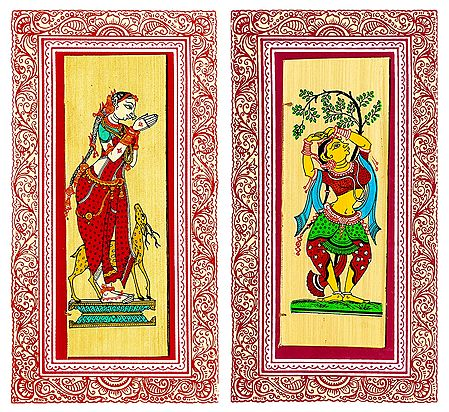 Shakuntala and Dancer - 2 Patachitra on Palm Leaf